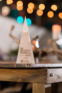 A photo of the Forte Awards trophy.