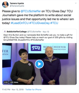 A social media post by TCU alumna Tamera Hyatte, encouraging other alumni to give on TCU Gives Day.