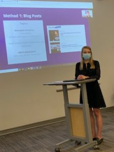 A photo of Schieffer student Brook Goodman presenting her Honors presentation.