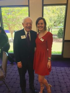 A photo of Bob Schieffer and TCU graduate student Laine Zizka.