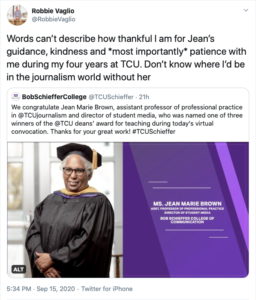 A screenshot from Twitter of a former student praising Jean Marie Brown for helping guide him through school.
