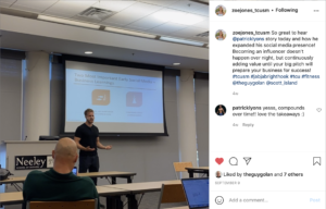 An Instagram post shared by TCU student Zoe Jones of Patrick Lyons speaking to her Social Media class.