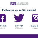 A graphic showing the Schieffer College's handles for Facebook, Twitter and Instagram.