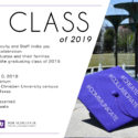 An invitation with the details for the May 2019 reception celebrating new graduates and their families.
