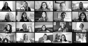 A Zoom session screenshot featuring members of the Roxo agency from the Spring 2020 semester.